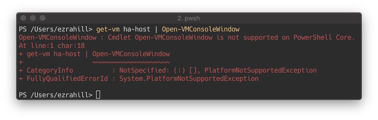 Not supported on PowerShell Core